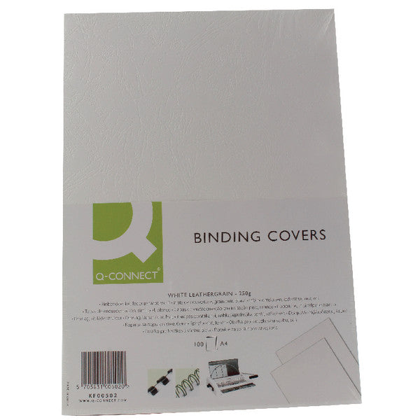 Comb Binding Covers White Leathergrain 250gsm A4 Pack 100