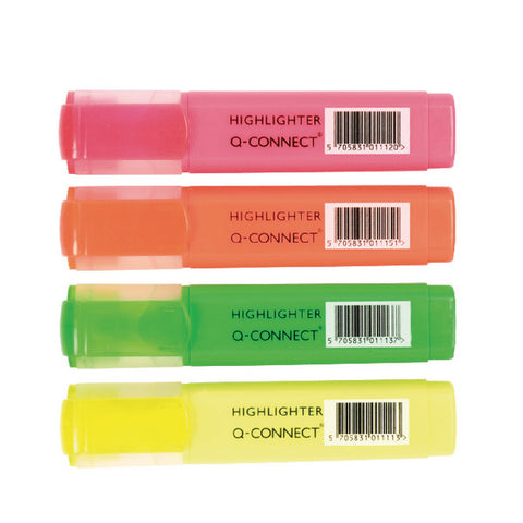 Highlighter Pens Assorted Wallet pack 4