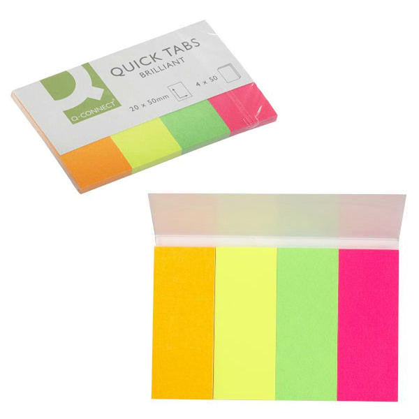 Quick Index Tabs 20x50mm Neon 200 tabs