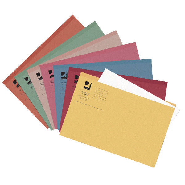 Square Cut Folders Foolscap Assorted Colours 180gsm lightweight File Pack 100