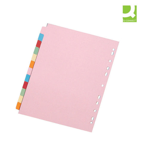 A4 12 part Subject Divider Multi Punched to fit most binders