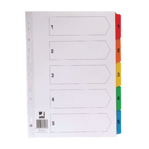 A4 Reinforced Multi-Punched Index Dividers No'd 1-5 with Multi-Coloured Numbered Tabs