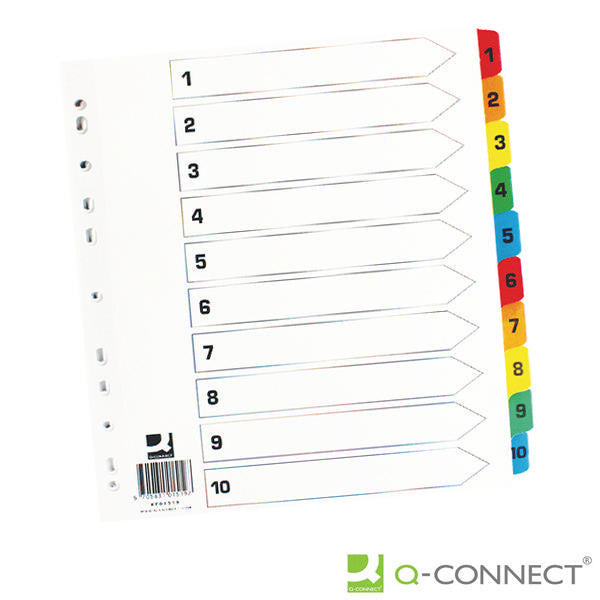 A4 1-10 Reinforced Multi-Punched Index Dividers with Multi-Coloured Numbered Tabs