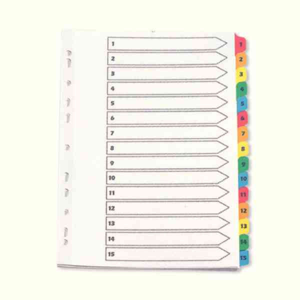 A4 1-15 Reinforced Multi-Punched Index Dividers with Multi-Coloured Numbered Tabs