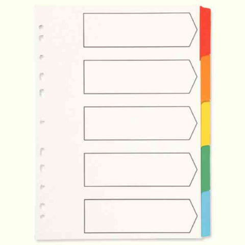 A4 5 part Muti-Punched Reinforced Index Dividers with Multi-Coloured Blank Tabs