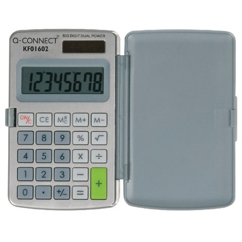 Small Pocket Calculator Grey 8 Digit Screen