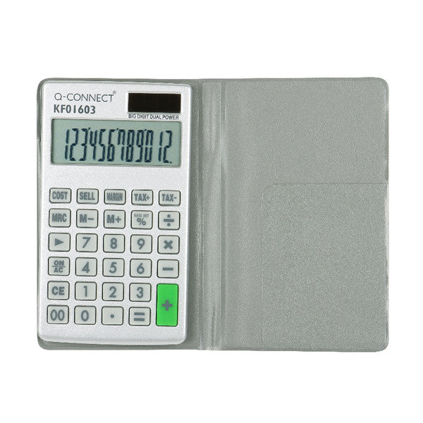 Large Pocket Calculator Grey 12 Digit Screen