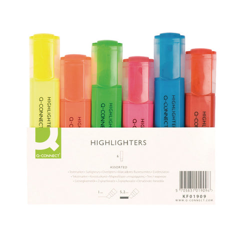 Highlighter Pens Assorted Wallet pack 6