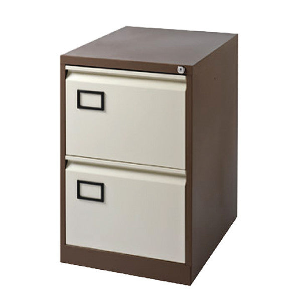 Filing Cabinet Metal 2 drawer in Coffee/Cream