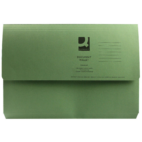 Document Wallet 285gsm Green Foolscap Folders Pack 50