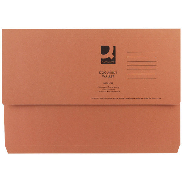 Document Wallet 285gsm Orange Foolscap Folders Pack 50