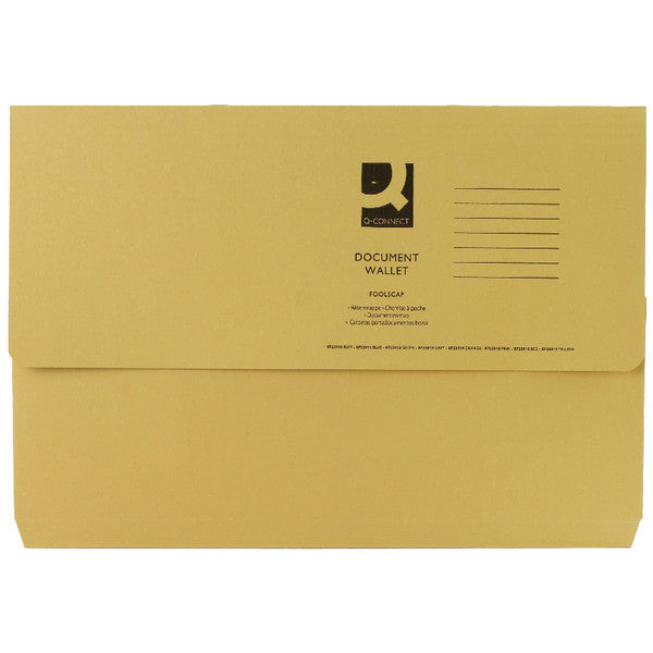 Document Wallet 285gsm Yellow Foolscap Folders Pack 50
