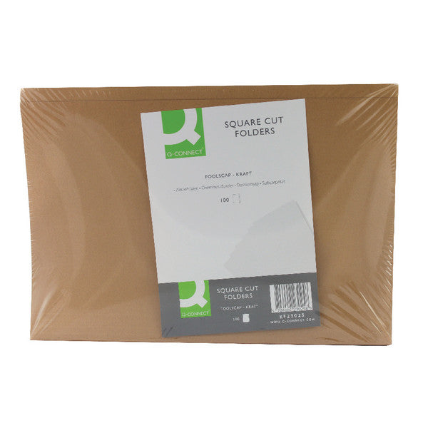 Square Cut Foolscap Folders 170gsm Kraft Manilla Buff Pack 100