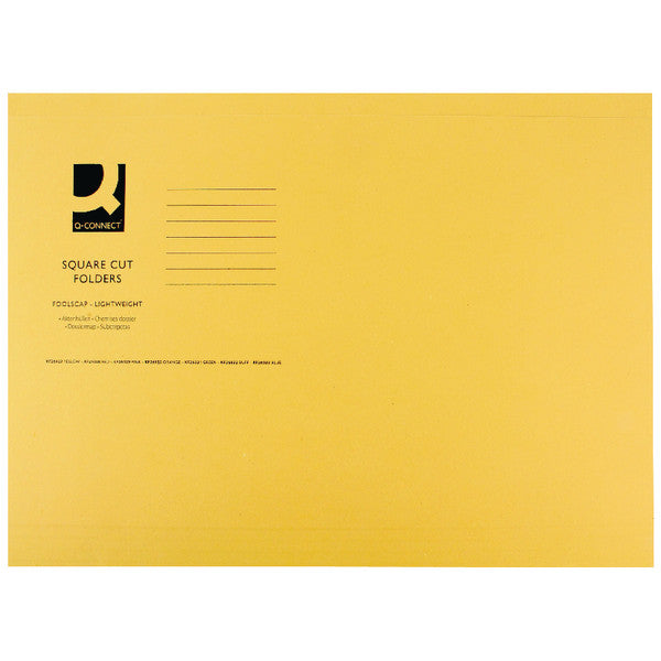 Square Cut Folders Foolscap Yellow 180gsm lightweight File Pack 100