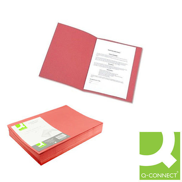Square Cut Folders Foolscap Red 180gsm lightweight File Pack 100