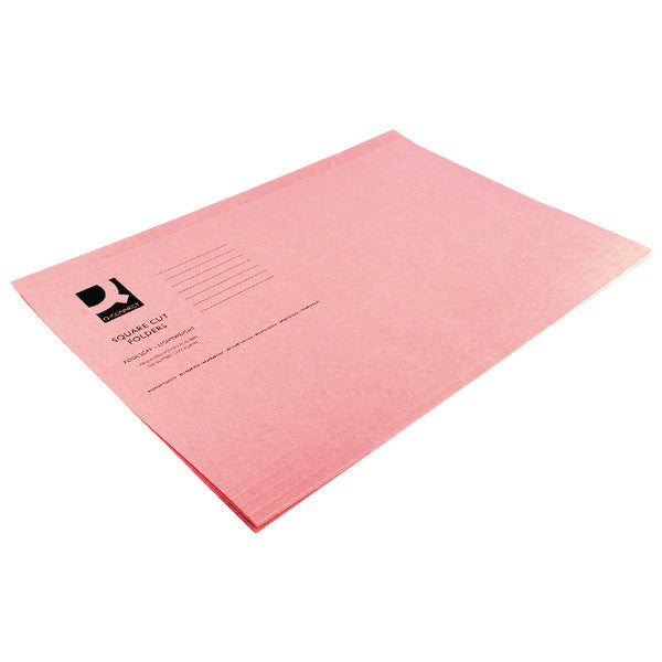 Square Cut Folders Foolscap Pink 180gsm lightweight File Pack 100