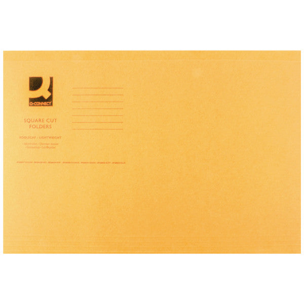Square Cut Folders Foolscap Orange 180gsm lightweight File Pack 100