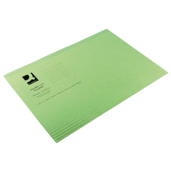 Square Cut Folders Foolscap Green 180gsm lightweight File Pack 100
