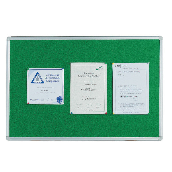 Notice Board 900x600mm Aluminium Frame Green