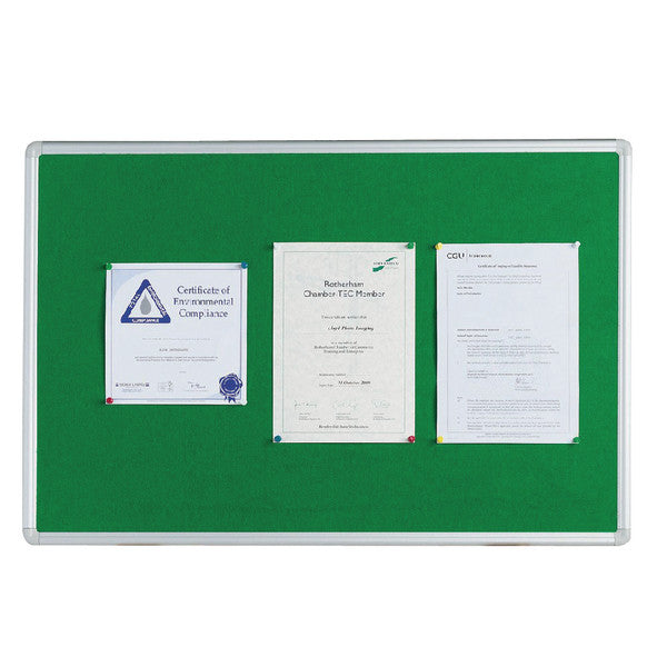Notice Board 1200x900mm Aluminium Frame Green