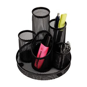 5 Tube Pencil Pot Black Mesh Scratch Resistant