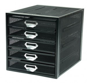 Mesh 5 Drawer Sorter Black/Silver Scratch Resistant