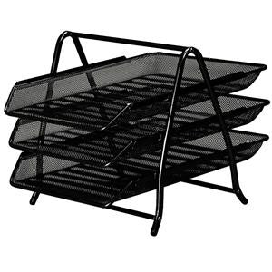 Front Load Mesh Letter Tray 3/5 Tier Black/Silver