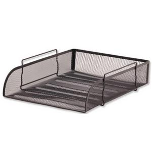 Letter Tray Black Mesh Stackable Front Loading Scratch Resistant Pack 1