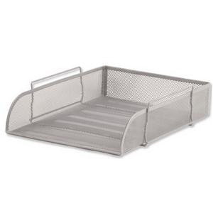 Letter Tray Silver Mesh Stackable Front Loading Scratch Resistant Pack 1