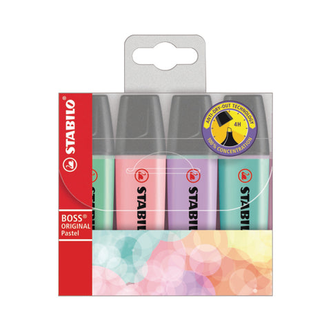 Stabilo Boss Assorted Wallet Original PASTEL Highlighter Pens 4 Pack Chisel Tip 2.5mm Line