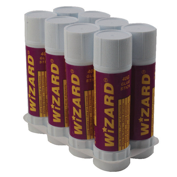 Glue Sticks 40g by Wizard Pack 8 Large