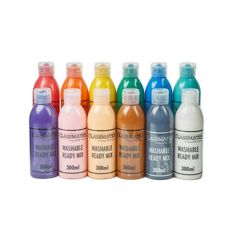 Ready Mixed Washable Paint Assorted Colours Kids Home Work 12 x 300ml