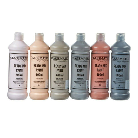 Ready Mixed Poster Paint in Skin Tone Neutral Colours Kids Home Work 6 x 600ml