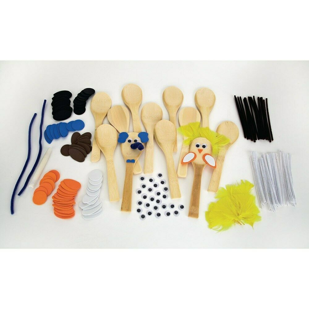 Make Your Own Wooden Spoon Animal Arts & Crafts - Makes 10