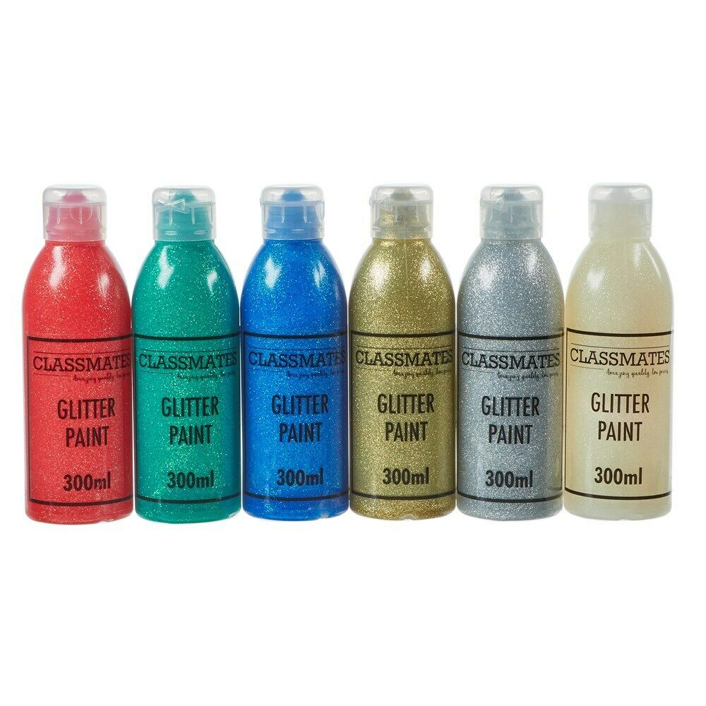 Glitter Paint Fun Kids Paint Home Work Arts and Crafts 6 x 300ml