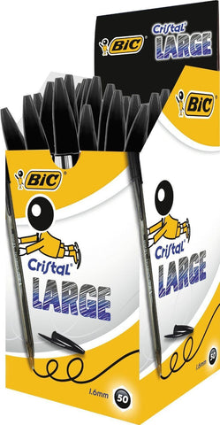 Bic Cristal Large Pens 1.6mm Black Quantity Choice