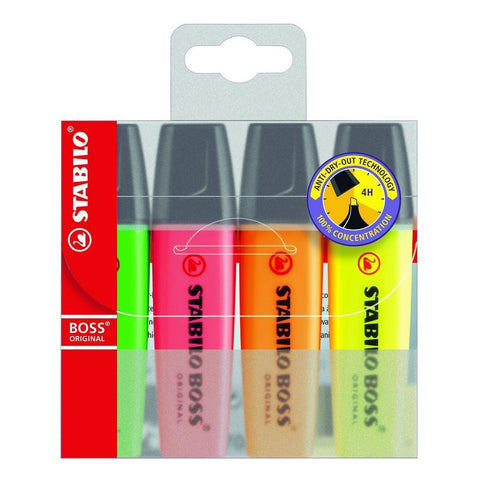 Stabilo Boss Assorted Wallet Highlighter Pens 4 Pack Chisel Tip 2.5mm Line