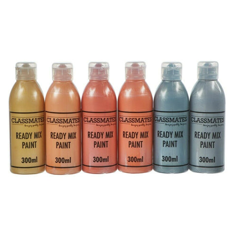 Ready Mixed Paint Fun Metallic Colours Kids Paint Home Work 6 x 300ml