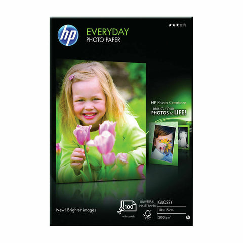 HP 100 x 150 mm Everyday Glossy Photo Paper- Pack of 100