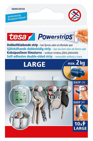 Tesa Powerstrips Large,Removable Self Adhesive Strips (10 Strips) Max 2kg