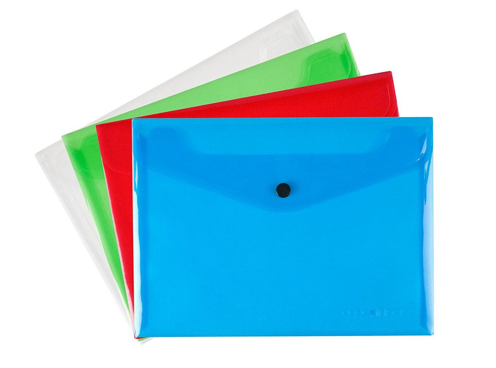 Poly A5 Document Wallet Assorted Colours With Press Stud- Pack Of 4