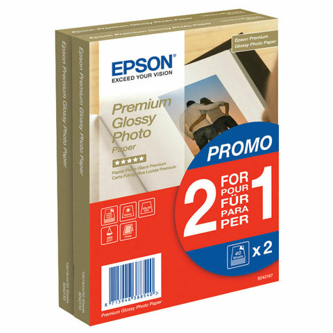 Epson 100 x 150mm Premium Glossy Photo Paper 40 Sheets- Buy One Get One Free