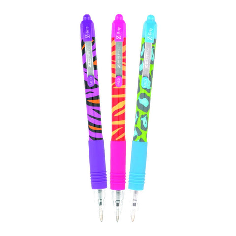 Zebra Z-Grip Funky Brights Animal Ballpoint Pen- Assorted pack of 3 pens
