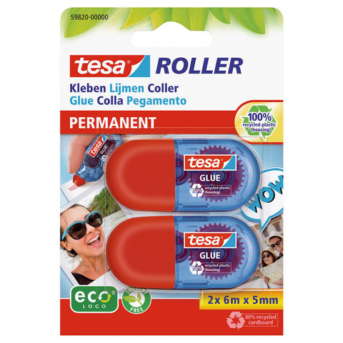 Glue Roller Twin Pack Permanent 5mm x 6m- 100% Recycled Product