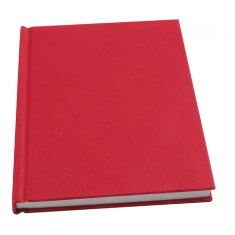 Hardbacked A6 Manuscript Book Feint Ruled 80 leaf (160 pages) Casebound Red