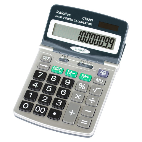 Initiative Large Adjustable 12 Digit LCD Calculator- Dual Solar Power