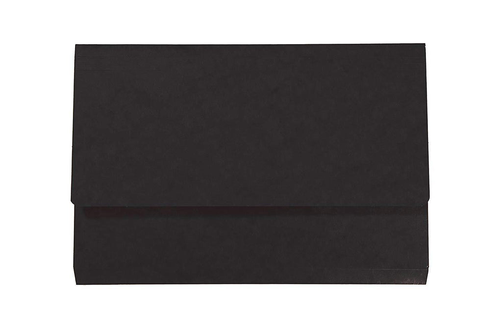 Black Expanding Cardboard Document Wallets- Pack of 10
