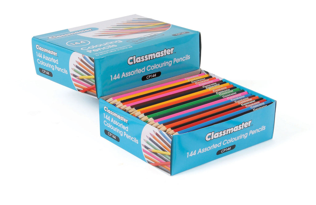Classmaster Assorted Classroom Colouring Pencils Pk of 144 | 12 Assorted Colours