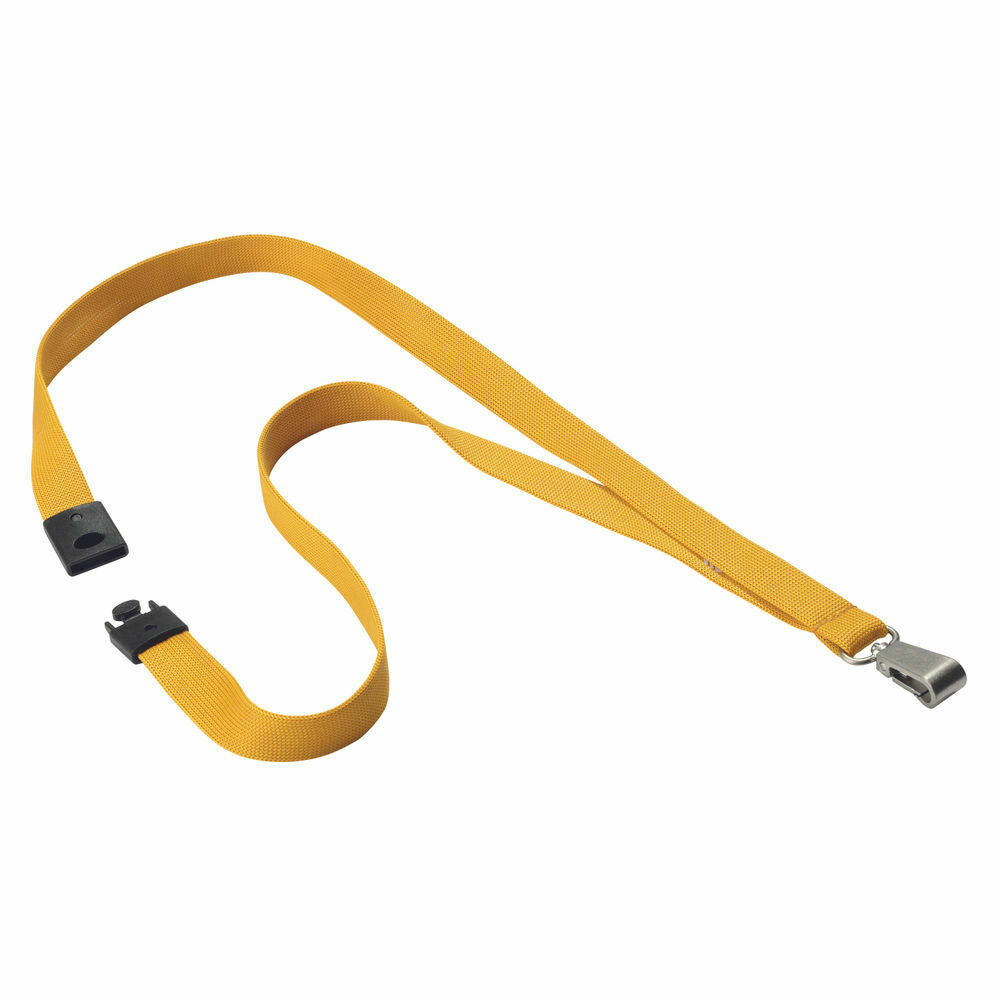 Durable Textile Lanyard 15mm Yellow- Pack of 10