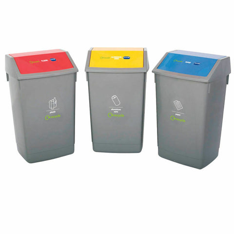 Addis Recycling Bin Kit- Pack of 3 Flip Top Bins